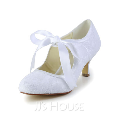 Vrouwen Kant Satijn Spool Hak Closed Toe Pumps met Ribbon Tie