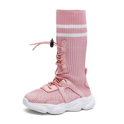 Girl's Round Toe Closed Toe Mid-Calf Boots Cloth Flat Heel Flats Boots With Lace-up
