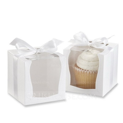 Nice Cubic Cupcake Boxes With Ribbons (Set of 12)