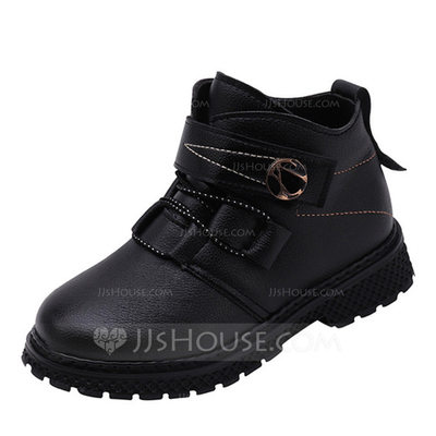 Unisex Round Toe Closed Toe Ankle Boots Martin Boots Leatherette Flat Heel Flats Boots Flower Girl Shoes With Lace-up Button