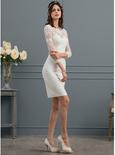 Sheath/Column Scoop Neck Knee-Length Stretch Crepe Wedding Dress With Sequins Bow(s)