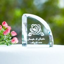 Personalized Lovely Rose Crystal Cake Topper