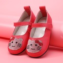 Girl's Round Toe Closed Toe Real Leather Flat Heel Flats Flower Girl Shoes With Velcro