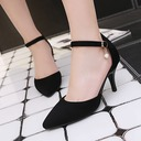Women's Suede Stiletto Heel Pumps Closed Toe With Imitation Pearl Buckle shoes