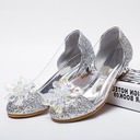 Girl's Round Toe Microfiber Leather Low Heel Flower Girl Shoes With Rhinestone Sparkling Glitter