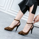 Women's Suede Stiletto Heel Sandals Pumps Closed Toe With Buckle Hollow-out shoes