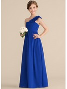 A-Line/Princess One-Shoulder Floor-Length Chiffon Junior Bridesmaid Dress With Ruffle Flower(s)