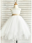 A-Line/Princess Scoop Neck Tea-Length Tulle Junior Bridesmaid Dress With Sash