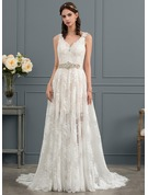 A-Line/Princess V-neck Court Train Lace Wedding Dress With Beading Sequins Bow(s)