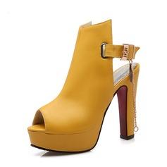 Женщины кожа Устойчивый каблук На каблуках Платформа с пряжка обувь