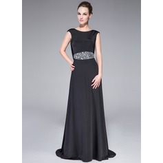 A-Line/Princess Scoop Neck Sweep Train Jersey Evening Dress With Beading