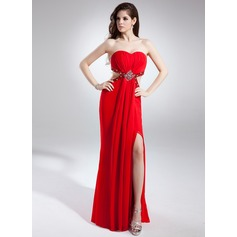 Sheath/Column Sweetheart Sweep Train Chiffon Prom Dress With Ruffle Beading Split Front
