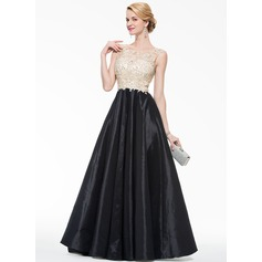 Ball-Gown Scoop Neck Floor-Length Taffeta Tulle Prom Dress With Beading Appliques Lace Sequins