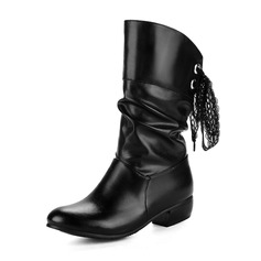Women's Leatherette Chunky Heel Closed Toe Boots Mid-Calf Boots With Lace-up shoes