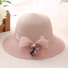 Ladies' Exquisite Rattan Straw With Imitation Pearls/Bowknot Straw Hat