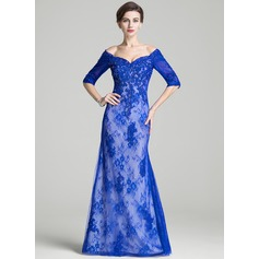 Trumpet/Mermaid Off-the-Shoulder Floor-Length Lace Mother of the Bride Dress With Beading Sequins