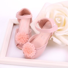 Girl's Peep Toe Microfiber Leather Flat Heel Sandals Flats Flower Girl Shoes With Velcro Flower