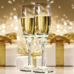 Personalized Classic Toasting Flutes With Rhinestone/Faux Pearl