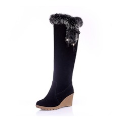 Women's Suede Wedge Heel Pumps Closed Toe Wedges Boots Knee High Boots With Lace-up Fur shoes