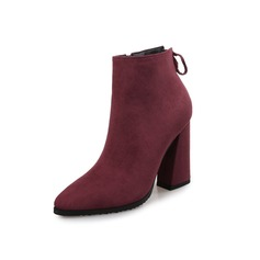 Women's Suede Chunky Heel Platform Ankle Boots shoes