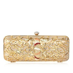 Shining Stainless Steel With Rhinestone Clutches