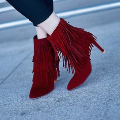 Women's Suede Stiletto Heel Pumps Closed Toe Boots Mid-Calf Boots With Zipper Tassel shoes