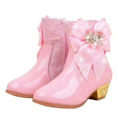 Girl's Closed Toe Microfiber Leather Low Heel Boots Flower Girl Shoes With Bowknot Crystal
