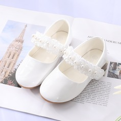 Girl's Round Toe Closed Toe Leatherette Flat Heel Flats Flower Girl Shoes With Stitching Lace Flower