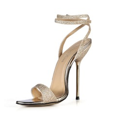 Women's Sparkling Glitter Stiletto Heel Sandals Slingbacks With Buckle shoes (087051964)