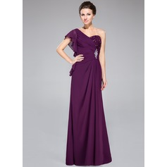 Trumpet/Mermaid One-Shoulder Floor-Length Chiffon Mother of the Bride Dress With Lace Beading Sequins Cascading Ruffles