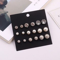 Unique Alloy Rhinestones Imitation Pearls With Imitation Pearl Rhinestone Women's Fashion Earrings (Set of 9)