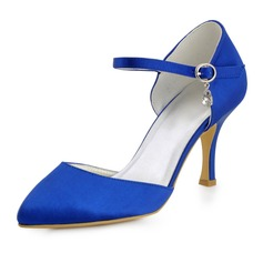 Women's Silk Like Satin Stiletto Heel Closed Toe Pumps With Buckle Rhinestone