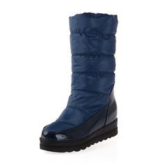 Vrouwen Patent Leather Stof Wedge Heel Closed Toe Laarzen Half-Kuit Laarzen schoenen