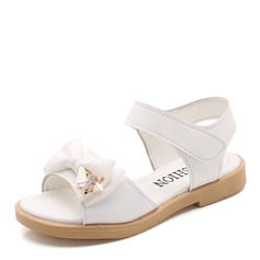 Girl's Peep Toe Leatherette Flat Heel Sandals Flats Flower Girl Shoes With Bowknot Rhinestone Velcro