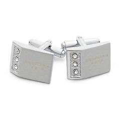 Personalized With Rhinestones Stainless Steel Cufflinks