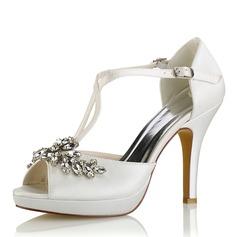 Women's Silk Like Satin Stiletto Heel Platform Pumps Sandals With Crystal