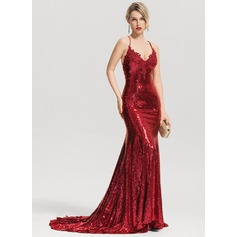 Trumpet/Mermaid V-neck Court Train Sequined Evening Dress
