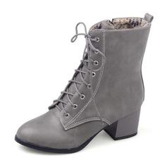 Vrouwen Kunstleer Rubber Chunky Heel Closed Toe Laarzen Half-Kuit Laarzen Martin Boots Rijlaarzen met Vastrijgen schoenen