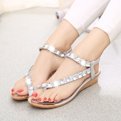 Women's Leatherette Wedge Heel Sandals Peep Toe Slingbacks With Rhinestone Jewelry Heel Elastic Band shoes