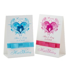 Personalized Love Design Paper Table Number Cards With Ribbons