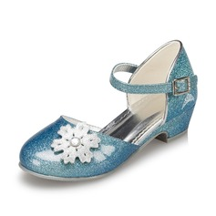 Girl's Leatherette Low Heel Closed Toe Pumps With Flower