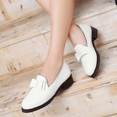 Women's Patent Leather Flat Heel Flats Closed Toe With Bowknot shoes