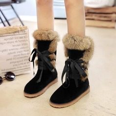 Women's Suede Flat Heel Boots Mid-Calf Boots With Lace-up Fur shoes