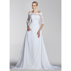 A-Line/Princess Off-the-Shoulder Court Train Chiffon Lace Wedding Dress With Beading Sequins