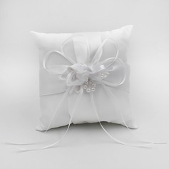 Elegant Ring Pillow in Satin With Bow/Flowers