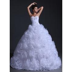 Ball-Gown Sweetheart Floor-Length Organza Wedding Dress With Ruffle Beading