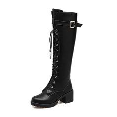 Vrouwen Kunstleer Chunky Heel Pumps Laarzen Knie Lengte Laarzen Martin Boots met Gesp Vastrijgen schoenen