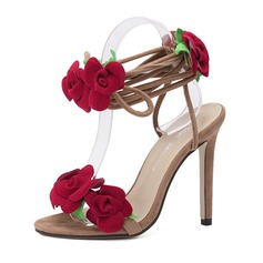 Women's Suede Stiletto Heel Sandals Slingbacks With Flower shoes