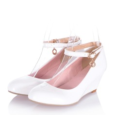 Women's Patent Leather Wedge Heel Wedges With Buckle shoes