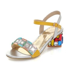 Leatherette Chunky Heel Sandals Pumps With Rhinestone shoes